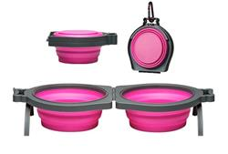 Loving Pets Bella Roma Travel Double Diner - Pink or Blue