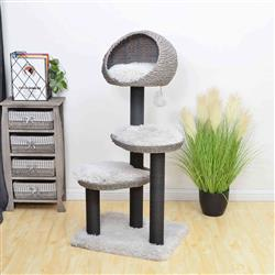 PREORDER-Petpals, Tundra 4 Level Iron Grey Cat Tree W/ Scratching Post & Perch