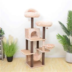PREORDER-Petpals, Meerkat 7 Level Porcelain White & Caramel Brown Cat Tree With Scratching Posts, Condo, Hammock and Two Shag Fur Cushions