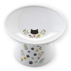 Extra Wide Raised Cat Food Bowl (Botanical Garden Limited Edition)