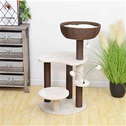 PREORDER-Petpals, Quartz 5 Level Cat Tree With Paper Rope Scratching Posts, Shag Fur Cushion, and Handwoven Bowl