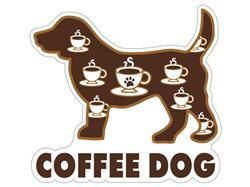 "Coffee  Dog - 3"" Sticker   -"