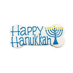 """Happy Hanukkah 6"""" Bone Shape Dog Cookie"""