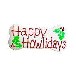 "Happy Howlidays 6"" Bone Shape Dog Cookie"