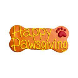 "Happy Pawsgiving 6"" Bone Shape Dog Cookie"