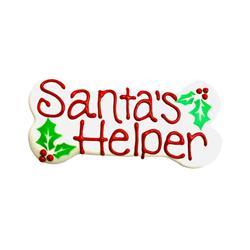 "Santa's Helper 6"" Bone Shape Dog Cookie"