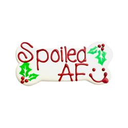"Spoiled AF Xmas 6"" Bone Shape Dog Cookie"