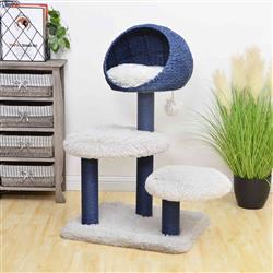 PREORDER-Petpals, Galaxy Blue and Gray 4 Level Cat Tree With Paper Rope Posts, Shag Fur Perch, and Condo