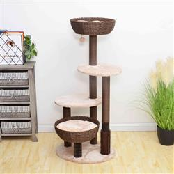 PREORDER-Petpals, Pharaoh Cinnamon Brown and Porcelain White 5 Level Cat Tree With Weaved Bowls, Paper Rope Posts and Plush Covers