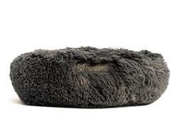 NANDOG ROUND SHAGGY PET BED - 26 IN DIAMETER - DARK GRAY