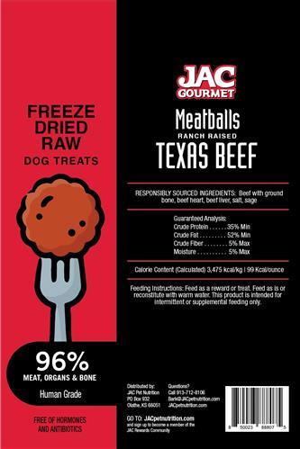 JAC Beef Meatball Treats Freeze Dried