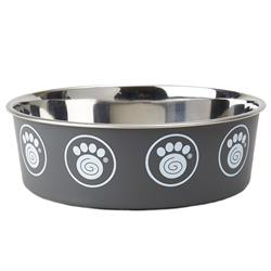 Capri Non-Skid Stainless-Steel Bowl Collection in Gray with Paws