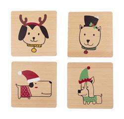 Holiday Dog Coaster Set, Set of 4