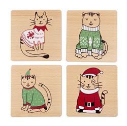 Holiday Cat Coaster Set, Set of 4