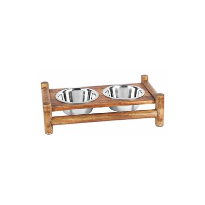 Advance Pet Products Bamboo Log Cabin Double Diner Dish Water Bowl