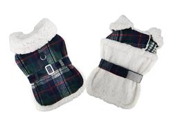 Sherpa Lined Dog Harness Coat - Blue and Green Plaid with Matching Leash