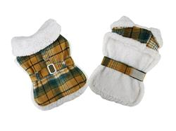 Sherpa Lined Dog Harness Coat - Yellow Plaid with Matching Leash