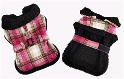 Sherpa Lined Dog Harness Coat - Hot Pink and Tan Plaid with Matching Leash