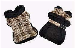 Sherpa Lined Dog Harness Coat - Brown and White Plaid with Matching Leash