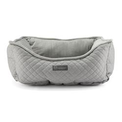 NANDOG PRIVE COLLECTION QUILTED VEGAN LEATHER BED - LIGHT GRAY