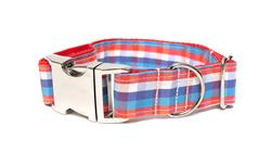 RED, WHITE & BLUE PLAID - DOG COLLAR