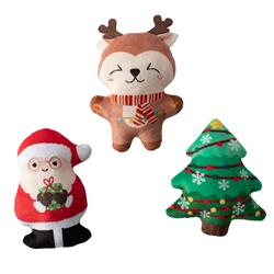 Merry And Bright Small Plush Dog Toys - Set Of 3