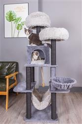 PREORDER - Petpals, Meerkat 7 Level Gray Cat Tree With Scratching Posts, Condo, Hammock and Two Shag Fur Cushions