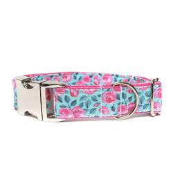TEAL AND PINK FLORAL - DOG COLLAR