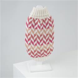 Herringbone Pink Alpaca Dog Sweater