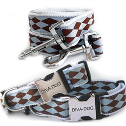 Blue & Chocolate Harlequin Collar & Leash Sets - Plastic/Metal Buckles