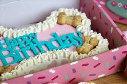 Dog Cake | Bone Pink | 9 inch Drip | Peanut Butter Flavor