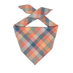 Plaid Bandana, Fall Bandana,  Winter Bandana, High Quality Luxe Fabric, Peach, Blue, Dog Bandana