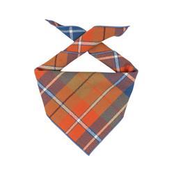 Flannel Dog Bandana, Plaid Bandana, Fall Bandana, High Quality Fabric, Blue, Orange