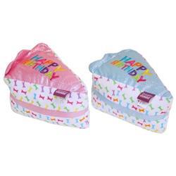 "Multipet Birthday Cake Slice Assorted Colors Metallic Blue / Pink 6"""