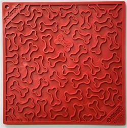 Bones Design Emat Enrichment Licking Mat - Red