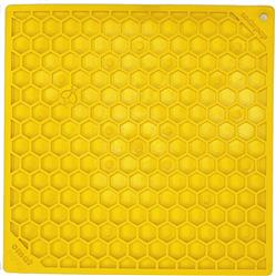 Honeycomb Design Emat Enrichment Licking Mat - Yellow - Large