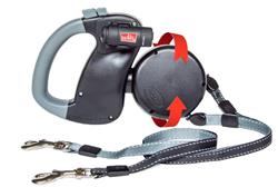 Dual Doggie Retractable LIGHT Leash for Dogs up to 50lbs Each