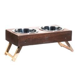 Brown Wood Adjustable Feeders