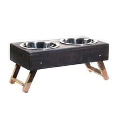 Gray Wood Adjustable Feeders