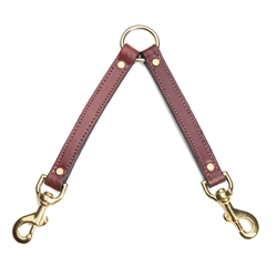 "2 Dog Leather Coupler - Chestnut - 3/4"" w"