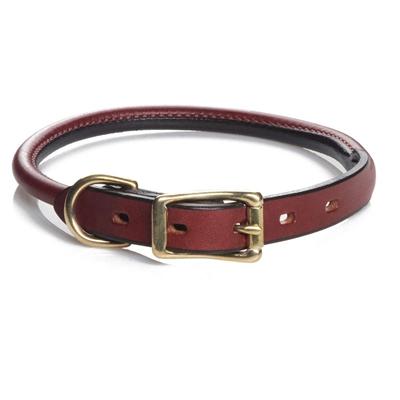Rolled Standard Leather Collar - Chestnut