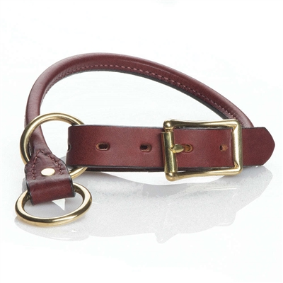 """Leather Training Collars - Chestnut - 1""""/rolled"""