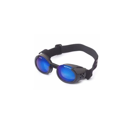 Metallic Black ILS Doggles with Blue Mirror Lens