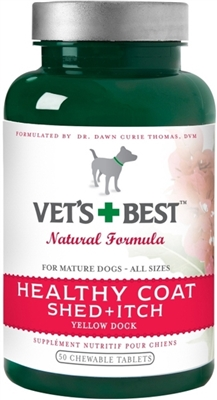 Vet's Best Healthy Coat Shed & Itch Relief Dog Supplement Relieve Dogs Skin Irritation and Shedding Due to Seasonal Allergies or Dermatitis 50 Chewable Tablets