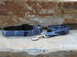 William Wegman Polka Dog Fabric Collars and Leashes (lapis)