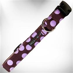 Purple Polka Dot on Brown Dog Collars and Leads