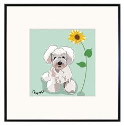 Framed Print: Poodle W/ Sunflower