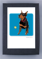 Dobermann W/ Ball - Grrreen Boxed Note Cards