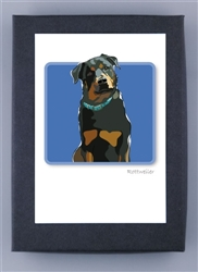 Rottweiler W/ Blue Collar - Grrreen Boxed Note Cards
