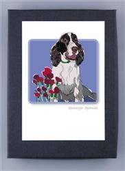 Springer Spaniel W/ Flowers - Grrreen Boxed Note Cards
